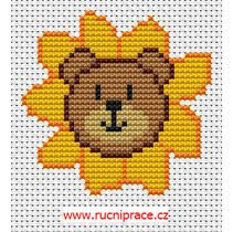 Bear with sunflowers, cross stitch