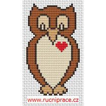 owl with heart, free cross stitch
